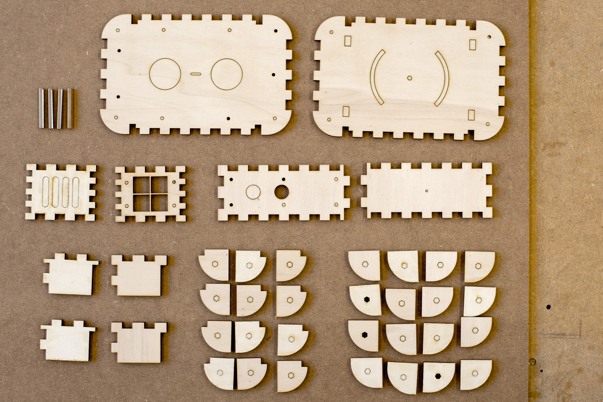 laser-cut wooden parts and spacer bolts