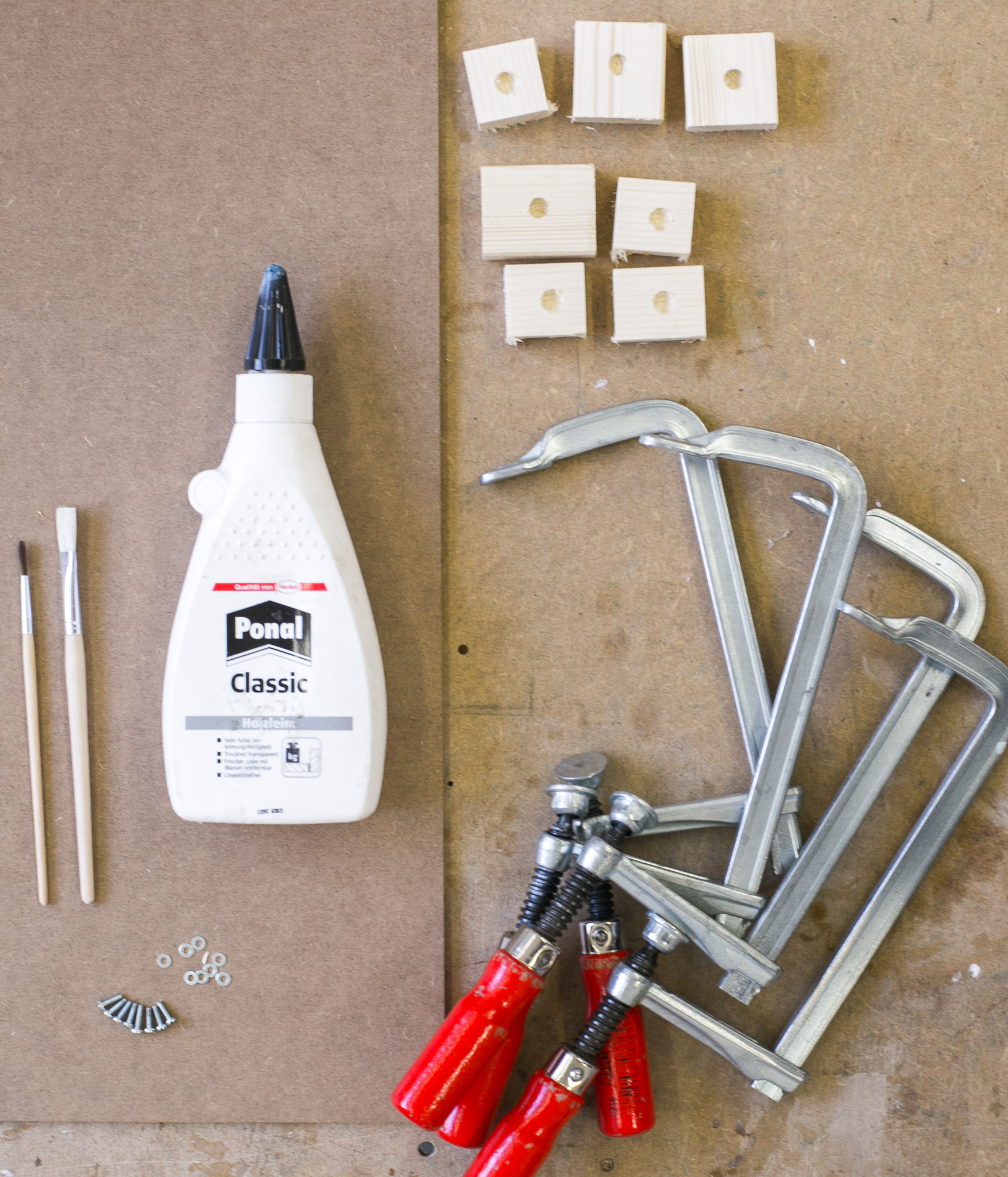 Wood glue, C-clamps, brushes, screws